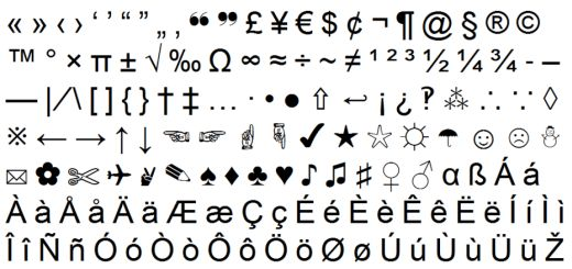 type special characters